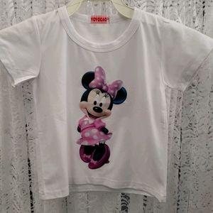 Girls T Shirt - Pink Polka Dot Minnie Mouse
